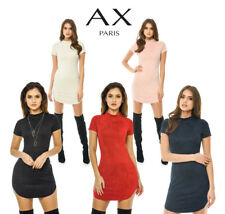 AX Paris Womens Faux Suede Bodycon Mini Dress, Ladies Casual Wear