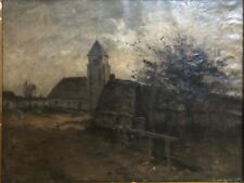 👀 Antique 1870's French Impressionist Oil Village Painting , Early Van Gogh?