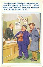 Vintage Donald McGill Postcard Dole Unemployment Australia Emigrate      RJ.246