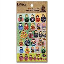 CUTE RUSSIAN DOLL STICKERS Paper Foil Sticker Sheet Kids Craft Matryoshka Kawaii