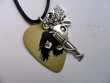 GUNS N ROSES SLASH  Guitar Pick  / Plectrum and GNR Charm Leather  Necklace