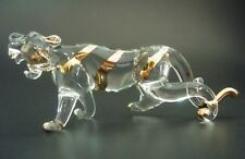 Glass TIGER Gold Painted Clear Glass Ornament Figure Glass Animal Miniature