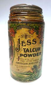 """Baltimore, MD - Victorian Era """"JESS"""" Talcum Powder Jar, Original Label - Brown"""
