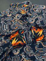 Robert Graham Large Shirt Mens Paisley Black Rainbow Long Sleeve New $198
