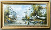 Listed J GASTON Vintage Original Oil Painting Parisian Street Scene Antique Rare