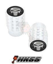 2 Silver Billet Aluminum Knurled Tire Air Valve Stem Caps - PUNISHER SKULL YHS