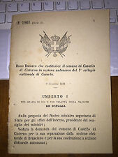 REGIO DECRETO COSTITUISCE CASTELLO di CISTERNA ,sep BRUSCIANO, SEZ AUT CASERTA