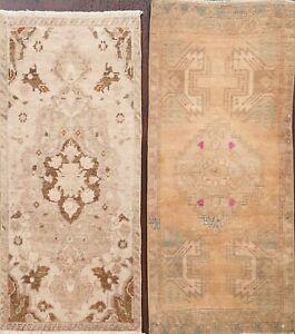 Pack of 2 Vintage Muted Geometric Oushak Turkish Handmade Oriental Area Rug 2x3