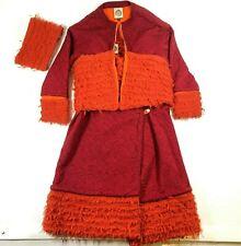 75c395b78 Coogi Life Womens S Mohair Aboriginal Skirt Jacket Headband Set Orange 90s  VTG