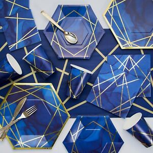 Navy Blue and Gold Foil Party Supplies Kit