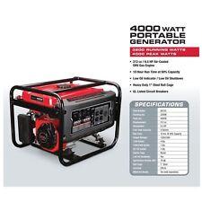 Gas Generator Portable Emergency Predator 4000 Watts Peak 6.5 HP 212cc EPA III