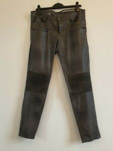 Zara grey faux leather biker ribbed jeans trousers size Large