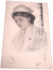 1910 postcard NURSE n Uniform w Hat Victorian or Civil War Era, Jessie A. Schley