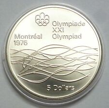 Canada 5 Dollars 1975 Silver coin UNC Swimmer - Montreal Olympics Games 1976 !