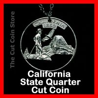 California 25¢ CA State Quarter Cut Coin Necklace Yosemite Valley Muir Half Some