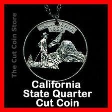 California 25¢ CA State Quarter Cut Coin Necklace Yosemite Valley Muir Half Some