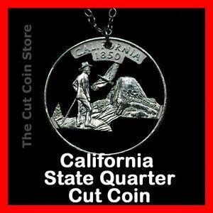 California 25¢ CA State Quarter Cut Coin Necklace Yosemite Valley Muir Half Dome