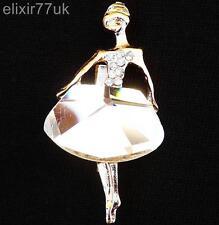 ELEGANT GOLD BALLERINA DIAMANTE CRYSTAL BROOCH GIFT PRESENT BALLET BADGE BROACH