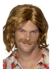 Super Trouper Brown Wig Moustache 60s 70s 80s Hippie Hippy Mens Fancy Dress Abba
