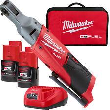 "Milwaukee 2556-22 M12 Fuel 12V Li-Ion Cordless 1/4"" Ratchet 2 Battery Kit New"