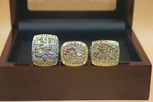 3Pcs Ring 1997 1998 2015 Denver Broncos World Championship Ring //