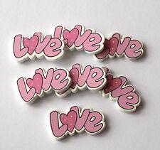 Love Wooden Craft Embellishments Pink x 8, Card Making, Scrapbooking
