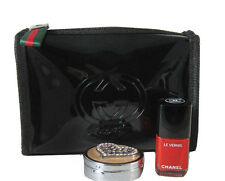 GUCCI Guilty Black Patent Small Make-Up Beauty Cosmetic Pouch Bag *VIP gift