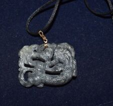 Chinese Celadon Green Jade Carved Dragon Necklace Pendant 14k Bale