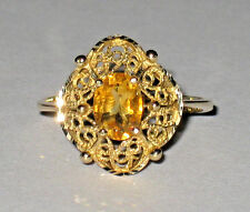 *BIG SALE*14K YELLOW GOLD SOLITAIRE GOLDEN TOPAZ FILIGREE RING 2 GRAMS SIZE 6.75
