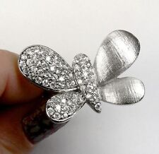 Large BUTTERFLY Sterling SILVER Simulated Diamond Ring size 8.5