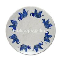 "18"" White Marble Round Coffee Table Top Lapis Elephant Inlay Bedroom Decors W328"