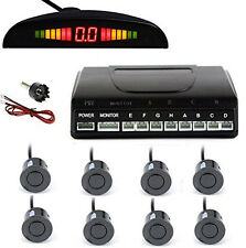 LED Display Screen Car Front And Rear Parking Radar Alert System 8 Sensors Black