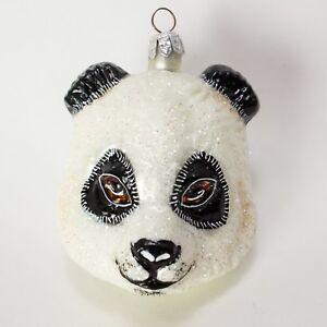 SLAVIC TREASURES Hand Blown Glass ANIMAL ORNAMENT Mini Panda Head POLAND Retired