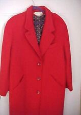 Bryant Park Full Length Wool Coat Womens Size 20 Red 3 Button Front 2 Pockets