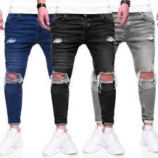 BEHYPE Jeans Herren Röhrenjeans Destroyed Slim Fit Chino Hose Schwarz/Grau NEU