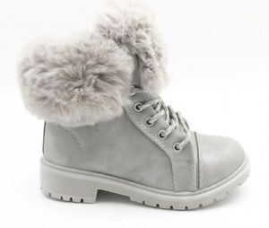 SHINY KIDS Ankle Girls boots Fur lined size 7UK ARMY COMBAT WINTER SHOES
