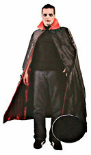 Adult Mens 56 Inch Deluxe Satin Vampire Cape Black Red Costume One Size Horror