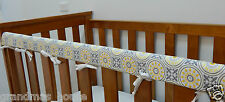 Cot Rail Cover Yellow Grey Boxed Damask Crib Teething Pad -   x 1