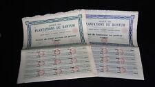 11 ACTIONS DE 20 PIASTRES SOCIETE DES PLANTATIONS DU KONTUM 1927  A629