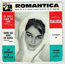"""DALIDA Vinyle 45T EP 7"""" ROMANTICA - .. BAHIA - GRENADE A SEVILLE - BARCLAY 70336"""