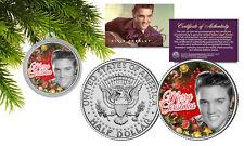 ELVIS PRESLEY JFK Half Dollar Coin w/ XMASTree Ornament Capsule * Vintage B/W *
