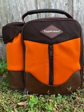 TUPPERWARE  ORANGE/BROWN BOYS LUNCH BAG INSULATED USA SELLER