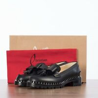 CHRISTIAN LOUBOUTIN 945$ URSUL LUG Moccasins In Black Calf Leather