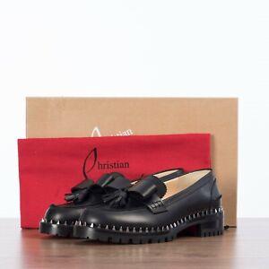CHRISTIAN LOUBOUTIN 945$ URSUL LUG Moccasins In Black Calf Leather