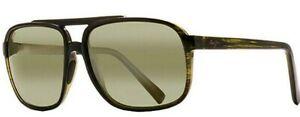 NEW* Maui Jim Silversword Sunglasses POLARIZED Green Lens HT701-15C Kaupo Gap $