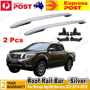 For Nissan Navara NP300 D23 4 Door Double Cab 2 x Silver Alloy Roof Rail Bars