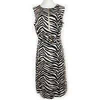 Liz Claiborne Sheath Dress 14 Zebra Print 100% Linen Belted A-Line Exposed Zip