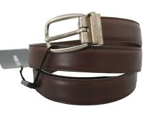NEW $400 DOLCE & GABBANA Belt Brown Leather Gray Oval Buckle Mens s. 100cm/40in