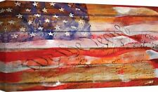 American Flag Old Glory Rustic Patriotic  Stretched Fine Art Canvas Print 24x40