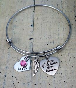 Dad Mom in Heaven Angel Father In Memory Remembrance wing Bracelet Sympathy Gift